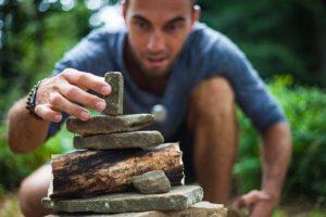 Building Zen Man Boy Pyramid Game Builds Nature