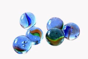 Blue Glass Marbles Kids Games Play Round