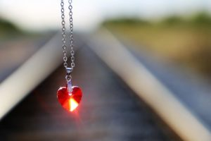 Stop Youth Suicide Red Heart Medallion On Railway