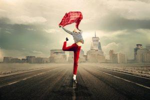 Girl Woman Joy Of Life Dance Balance Jump Free