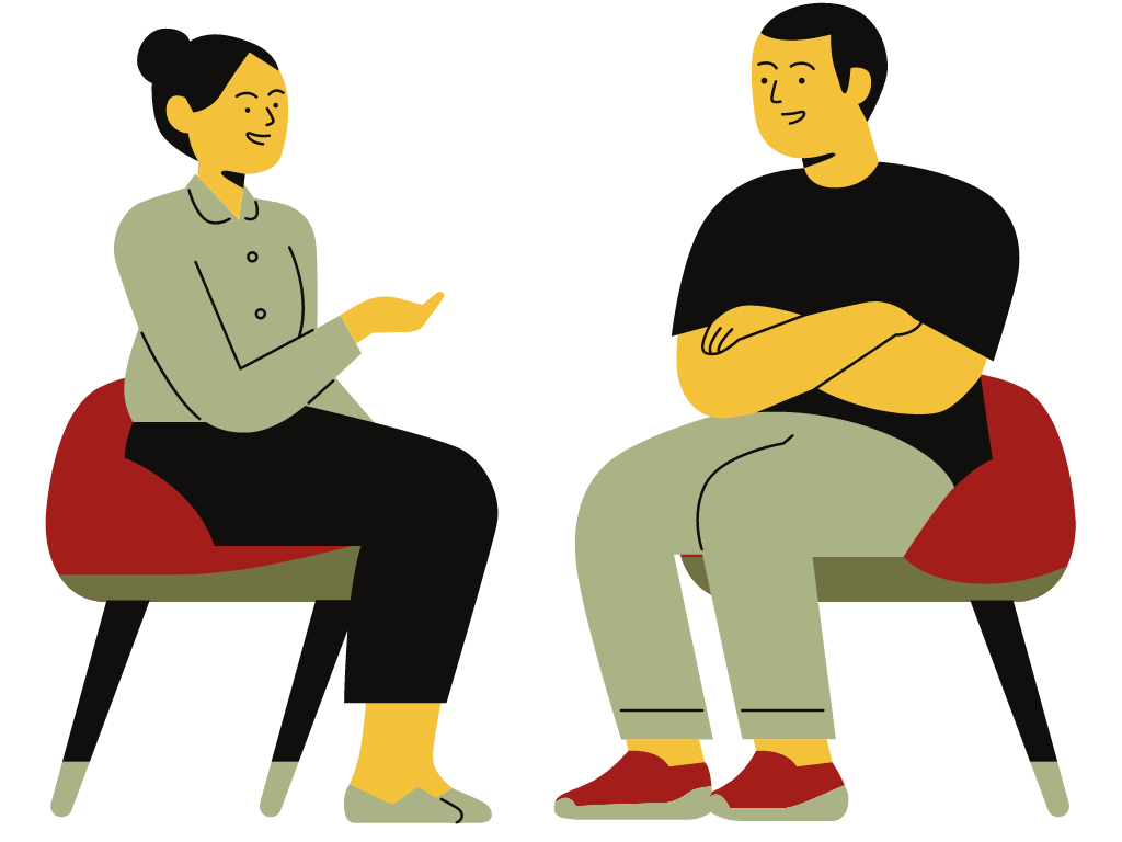 man and woman in adult Individual counseling session