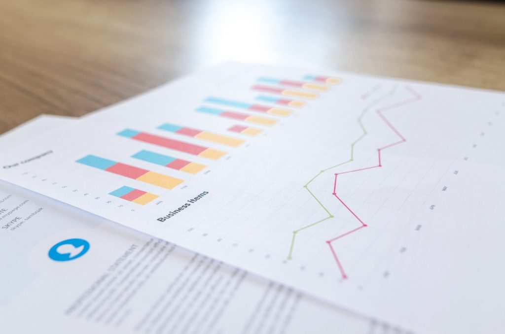 colorful report with charts and graphs