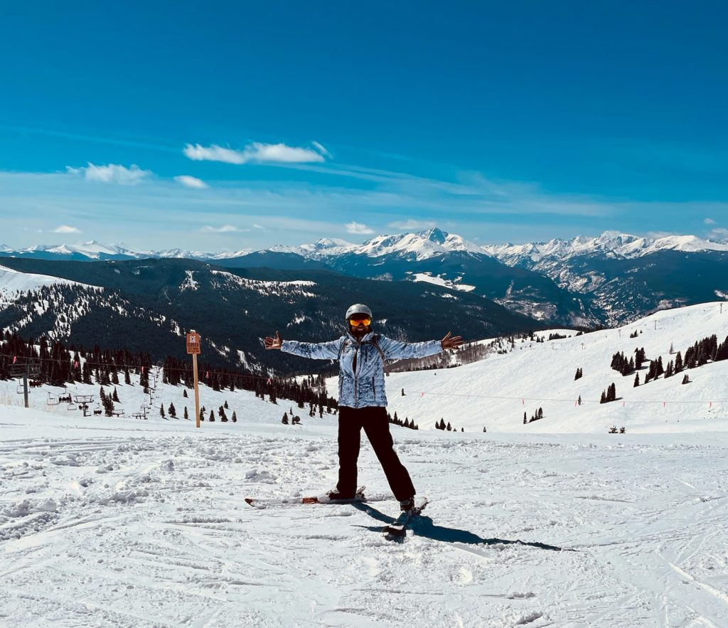 Nancy Bipolar Disorder Woman on mountain skiing with arms out