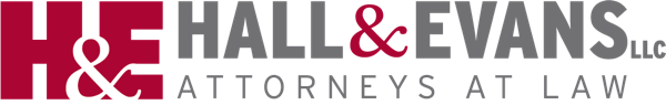 Hall and Evans Logo Attorneys at Law Red H & E with gray text