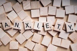 Scrabble tiles spelling anxiety