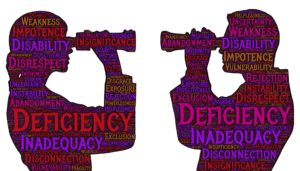 Two people looking at each other with words of doubt written on them _ imposter syndrome